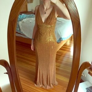 Cache Long Copper Sequin gown wedding prom dress